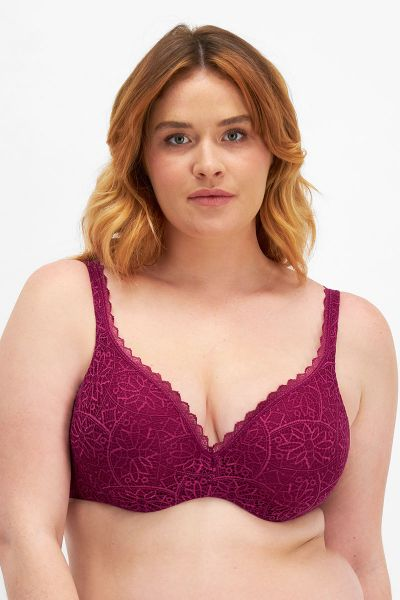 Berlei Barely There Lace Contour Bra Deep Cranberry YYTP FDD